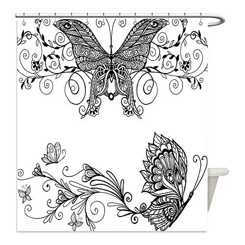 Urban Outfitters Animal Costumes (Liguo88 Custom Waterproof Bathroom Shower Curtain Polyester House Decor Butterfly with Floral Mandala Patterns Bohemian Decorations Butterfly Wings Picture Decor Black White Decorative bathroom)