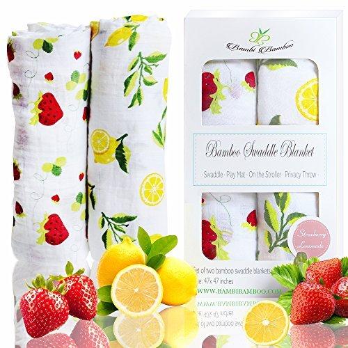 Softest Organic Bamboo Baby Muslin Swaddle Blankets, Strawberry Lemon...