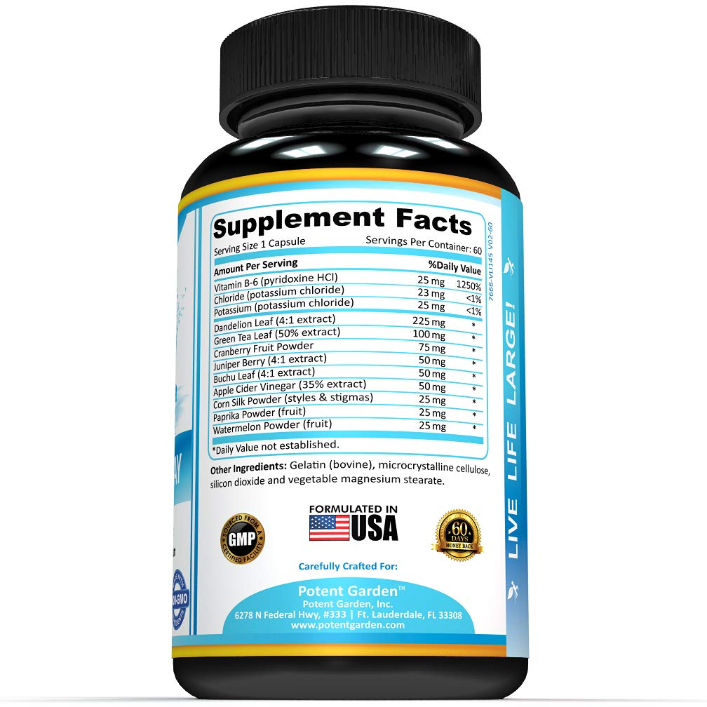 Water Pills That Work | Water Away Natural Herbal Supplements ǀ 60 Capsules ǀ Herbal Formula with Dandelion and Potassium Chloride ǀ Diuretic Detox for Weight Loss ǀ Anti-Bloating and Water Retention by Potent Garden (Image #3)
