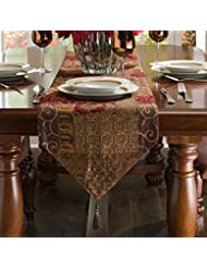 Beautiful Croscill Galleria Red Patchwork Jacquard Table Runner, Paisley, Damask,  Diamond, And Lattice