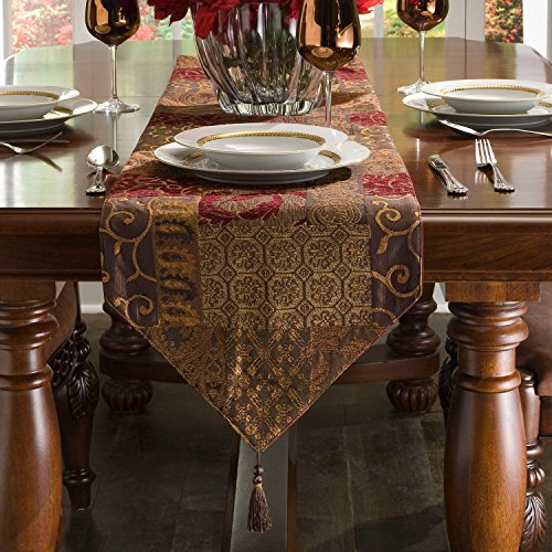 Paisley Table Runner - Croscill Galleria Red Patchwork Jacquard Table Runner, Paisley, Damask, Diamond, and Lattice motifs, 120