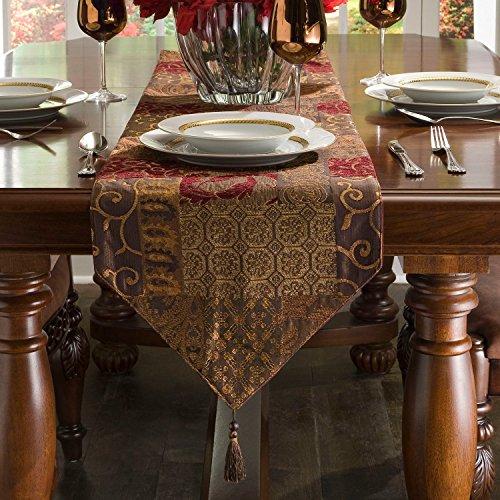 "Croscill Galleria Red Patchwork Jacquard Table Runner, Paisley, Damask, Diamond, and Lattice motifs, 120""L x 14""W"