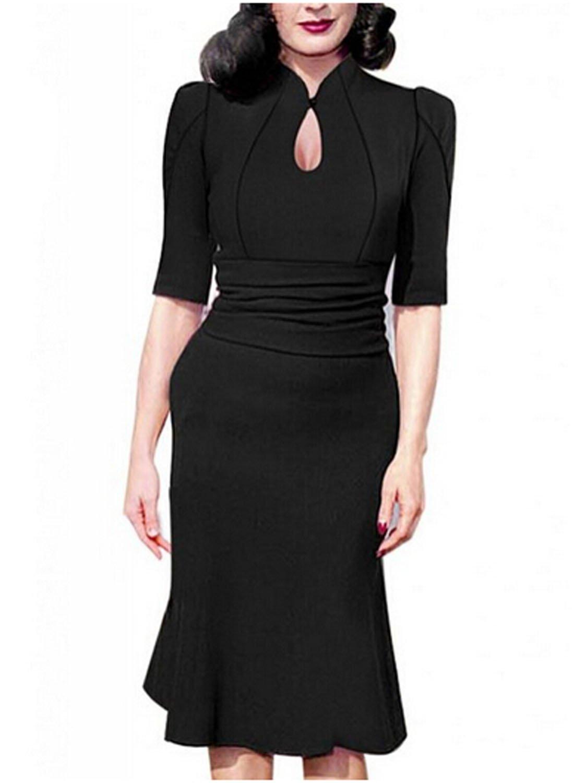 Destinas Women's Vintage Style Retro 1940s Shirtwaist Flared Tea Dress L Black