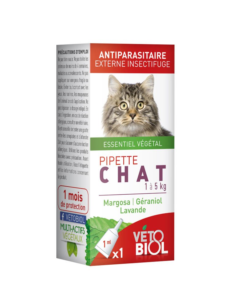 Vétobiol Pipette Chat 1 à 5 Kg 1 Pipette