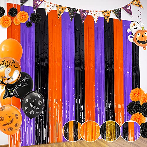 Orange Purple Black Foil Fringe Curtains Halloween Party Decoration 3 Pack 3.2 X 8.2 ft Extra Large Tinsel Curtain Party Photo Backdrop Streamer Backdrop for Halloween Party, Anniversary Party