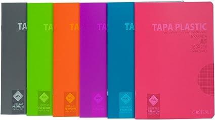 Casterli - Pack de 6 cuadernos grapado, tapa plástico, tamaño A5, cuadros 4x4, 90gr - PACK COLORES: Amazon.es: Oficina y papelería