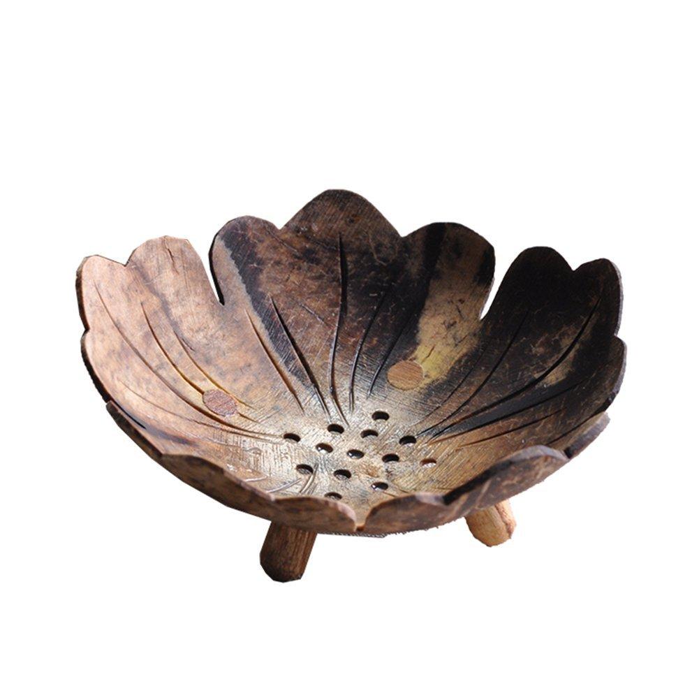 FEMS Guscio di noce di cocco Hand-Carved porta sapone speciale bagno