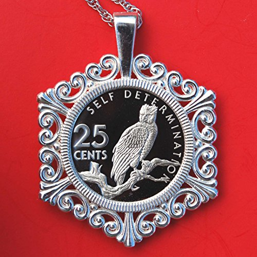 1976 Guyana 25 Cent Gem Proof Coin Solid 925 Sterling Silver Necklace NEW - Harpy Eagle