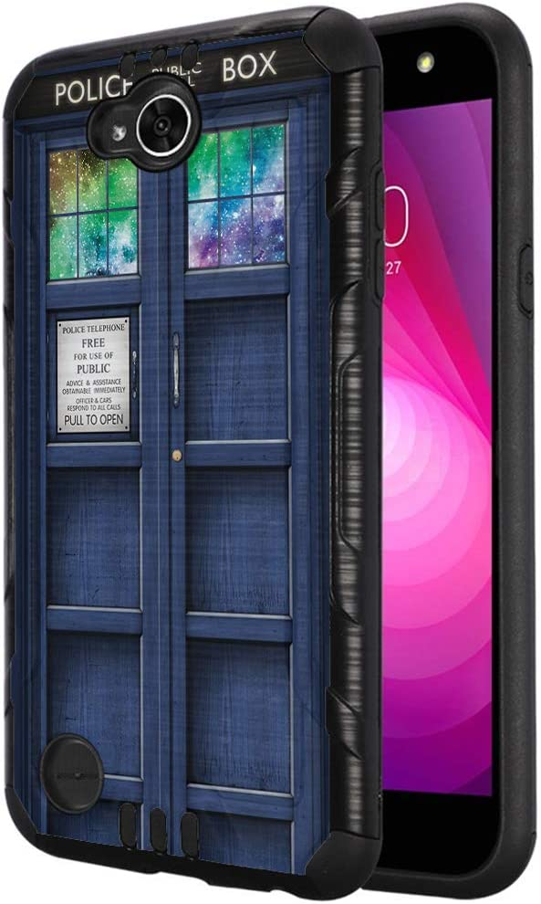 Capsule Case Compatible with LG X Power 2, LG X Charge, LG Fiesta LTE, LG K10 Power, LG LS7 4G LTE [Dual Layer Slim Defender Armor Combat Case Black Metal] - (Blue Phone Booth)