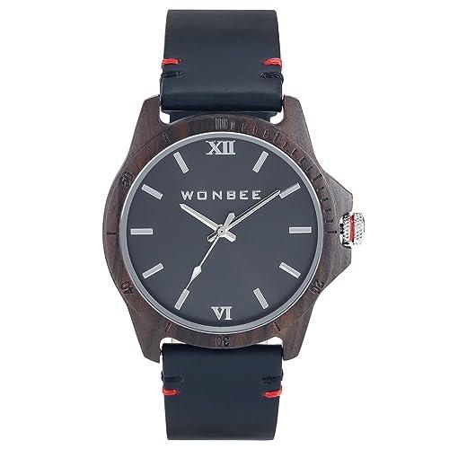 Reloj para Hombre WONBEE Reloj Clásico de Madera de Ébano Banda de Cuero Negra Reloj de Pulsera de Cuarzo Serie GI