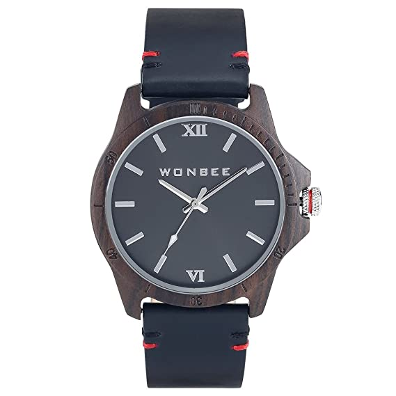 Reloj para Hombre WONBEE - Reloj Clásico de Madera de Ébano - Banda de Cuero Negra - Reloj de Pulsera de Cuarzo - Serie GI: Amazon.es: Relojes
