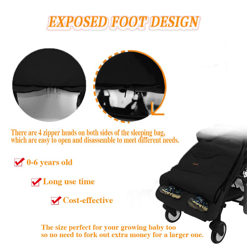 Universal for Infant Stroller Sleeping Bag Cosy Toes Warm Thick Velvet Pram Liner Waterproof Windproof Detachable Pushchair Liner for Pushchair Car Seat Black Baby Footmuff