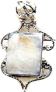 Gemsonclick Réel Rainbow Moonstone Pendentif pour Les Femmes 925 Argent À La Main Forme Carrée De Mode Bijoux