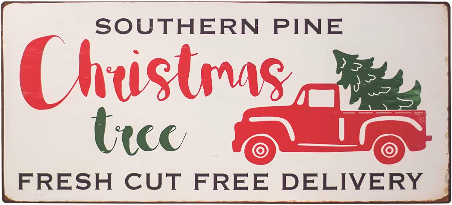 Col House Designs Red Truck Southern Pine Christmas Tree Metal Sign - Farmhouse Christmas Red Truck Decor - Vintage Christmas Decor