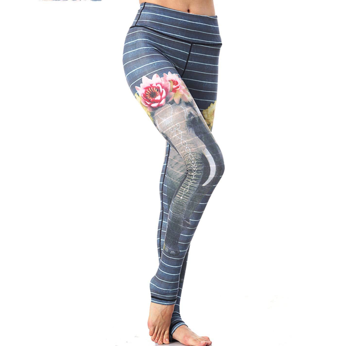Amazon.com: BYBYFf Women Yoga Workout Elastic Printing Gym ...