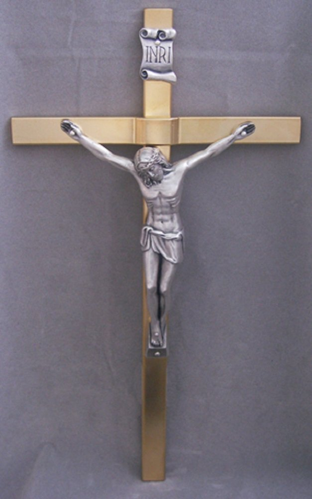 Crucifix with gold plated cross & silver plated corpus, 11inches. Made in Italy.