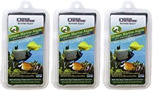 Ocean Nutrition 3 Pack of Green Marine Algae Fish Food, 10 Sheets Each, with Natural Garlic Extract for All Herbivorous & Omnivorous Fish