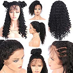 Helene High Density Glueless Lace Front Wig For Women Deep Curly Synthetic Lace Wigs Heat Resistant Fiber Wig Natural Hairline with Baby Hair (24Inch Black Color)