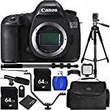 Canon EOS 5DS Digital SLR (Body Only) 12 Piece Accessory Bundle with Carrying Case, Mini Condenser Shotgun Microphone, LED Video Light + MORE