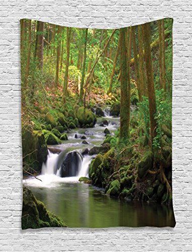 Forest Tapestry Lake House Decor Ambesonne, Stream Flowing in the Forest over Mossy Rocks Tree Foliage Splash Summertime Theme Hiking View, Bedroom Living Room Dorm Wall Hanging Tapestry, Olive