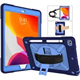 """A-BEAUTY Case for iPad 10.2"""" 2019 7th Generation, with [Screen Protector] [Pen] [Pencil Holder] [Handstrap Shoulder], Navy Blue"""