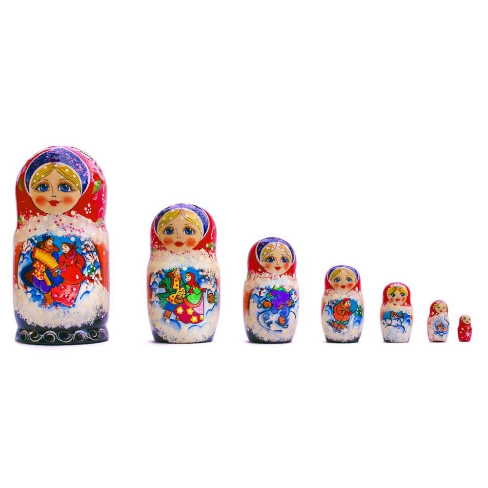 BestPysanky Set of 7 Christmas Celebration in Village with Music Russian Nesting Dolls 8.5 Inches by BestPysanky (Image #1)