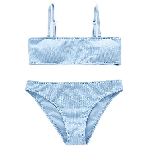 e7ecfca525530 Elogoog Women s Solid Color Bikini Swimsuit 2 Piece Strapless Tube Top  Bandeau Swimsuits Cover up Sets