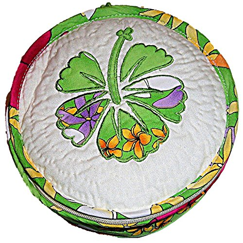 QUILTED APPLIQUE HAWAIIAN HIBISCUS FLORAL SEWING BOX CASE ACCESSORY