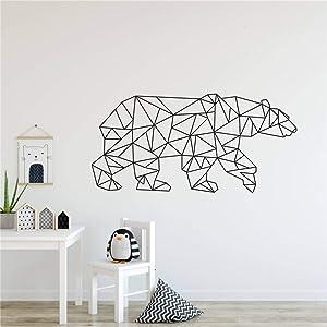 Wall Art Decor Sticker Geometric Animals Bear Vinyl Wall Sticker Art Decal Home Decoration Personality Living Room Bedroom Mural Y-11 (55x108cm, Black)