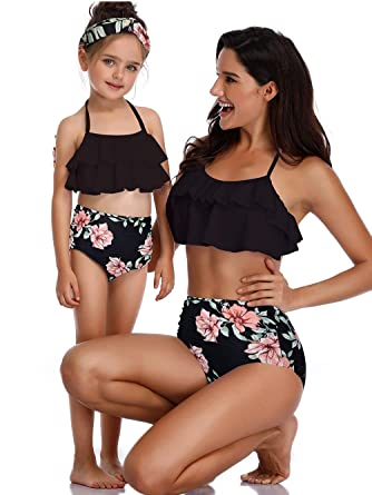 676c11c44f Amazon.com: (with Headband) Mother Daughter Family Matching Swimsuits,Bikini  for Women: Clothing