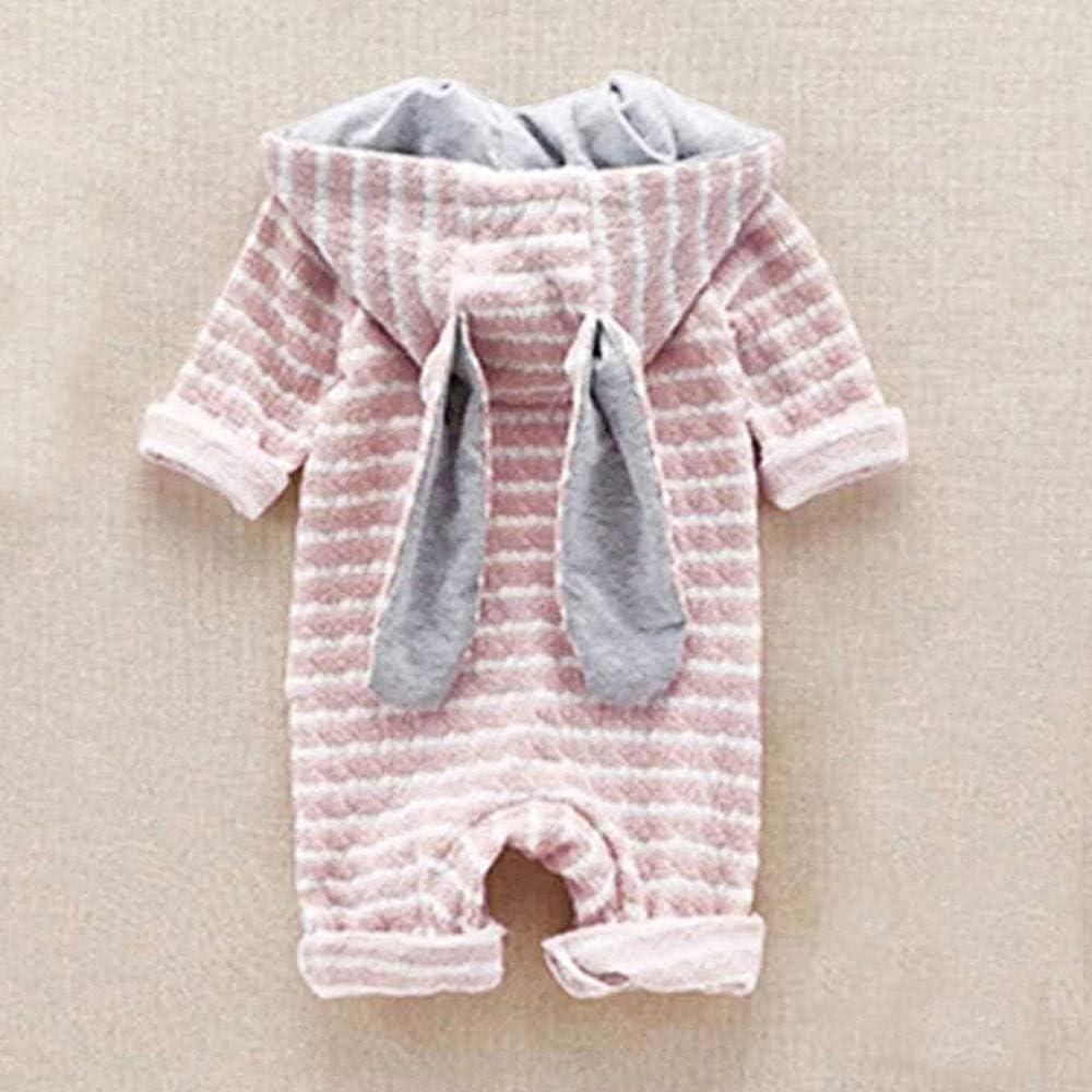 KONFA Toddler Newborn Baby Boys Girls Cartoon Fox Stripes Ears Hooded Rompers,Kids Long Sleeve Jumpsuit Autumn Clothing Set