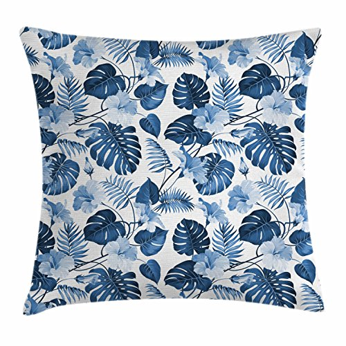 Leaf Throw Pillow Cushion Cover by Ambesonne, Palm and Mango Tree Branch and Hawaiian Hibiscus Flower Image, Decorative Square Accent Pillow Case, 16 X 16 Inches, Light Blue Turquoise and Dark Blue ()