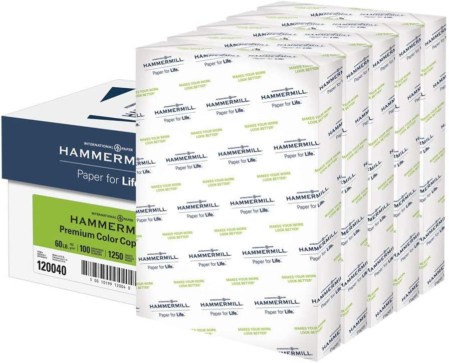 Hammermill Premium Color Copy Cover 60lb Cardstock, 18 x 12, 5 Packs, 1250 Sheets, Made in USA, Sourced From American Family Tree Farms, 100 Bright, Acid Free, Heavy-weight Printer Paper, 120040C