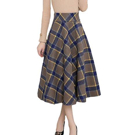 Falda de Lana a Cuadros para Mujer de Cintura Alta de Media ...