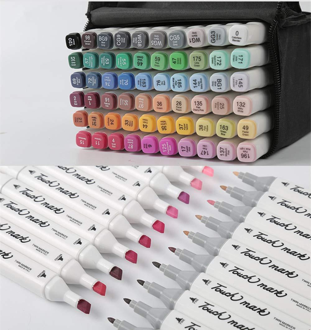 Touch Mark Mutilcolor - Rotuladores permanentes con base de puntas, alcohol, 2 puntas, de color blanco 80 Colors Anime b9a64f