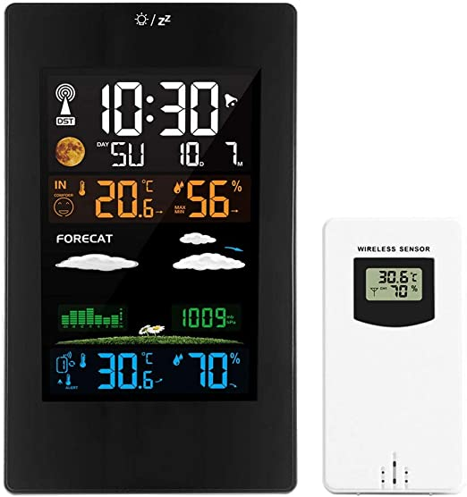 digitale Funkwetterstation Außensensor Thermometer Hygrometer Uhr Ls