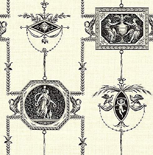 Wallpaper Designer Black French Toile on Cream Faux Birds Cherubs Angels (Wallpaper Cherub)