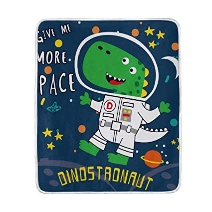 Incredible Amazon Com Cartoon Dinosaur Astronaut Soft Warm Throw Bralicious Painted Fabric Chair Ideas Braliciousco