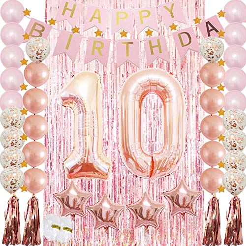 10th Birthday Decorations for Girls Party Supplies-Confetti Latex Balloon,Foil Mylar Star,Tassel Garland,Tinsel Foil Fringe Curtains,Happy Birthday Banner as Photo Props,GIF