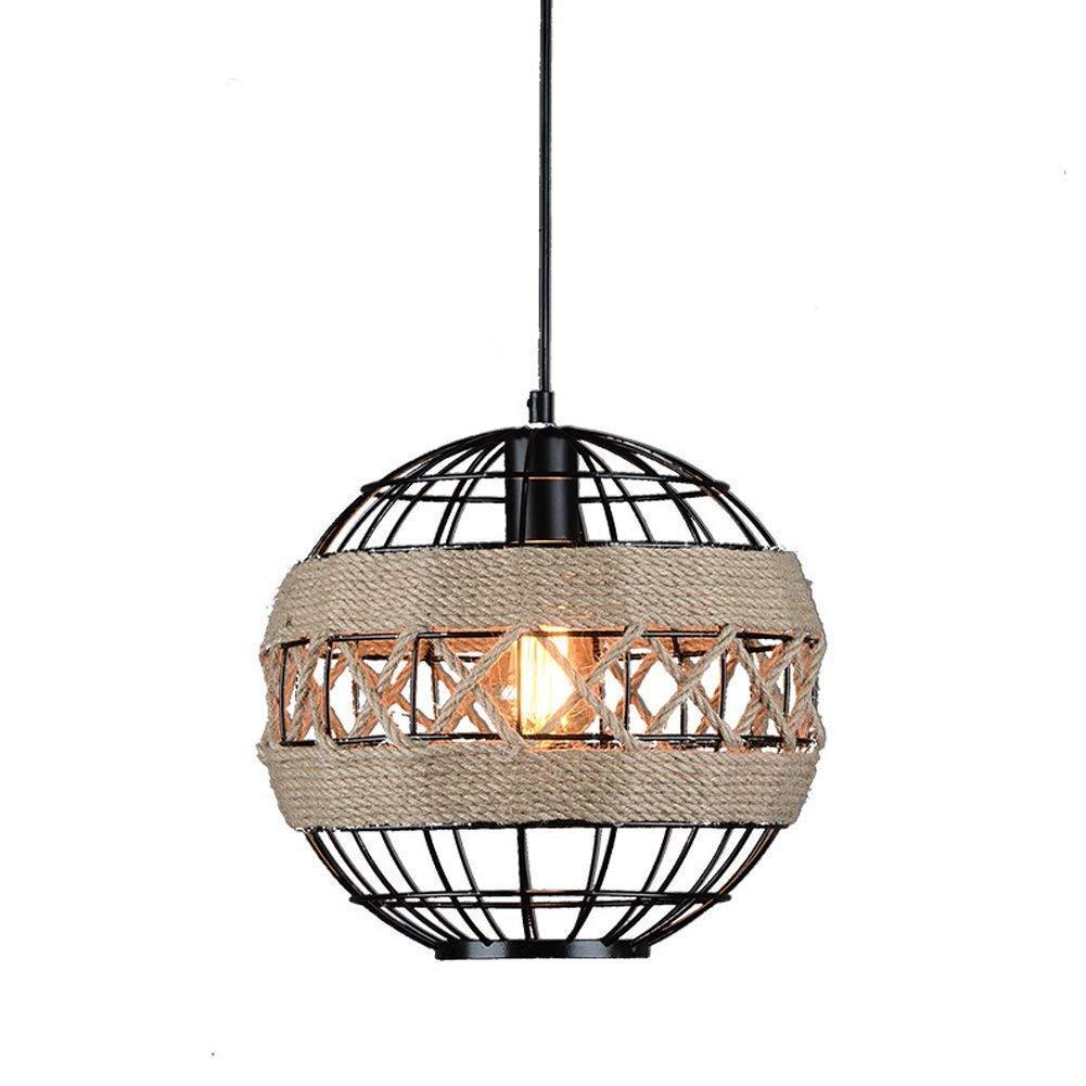 Nianle アメリカの錬鉄製のシャンデリアの農村創造麻ロープ照明灯産業の風レトロレストランバーインターネットカフェラウンド吊るす光 B07KN4N572