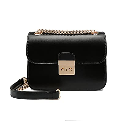 a98e697d05f 2018 Classic Crossbody Shoulder Bag for Women Rectangle Purse With Metal  Zipper Chain Strap (Black