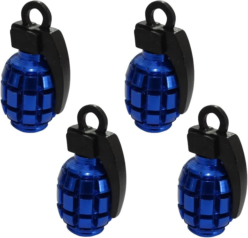 Auto Blue and Black Color Universal C19902 Bike Grenade Shaped Aerzetix: 4 x Tire Valve Caps Motorcycle Tyre Caps