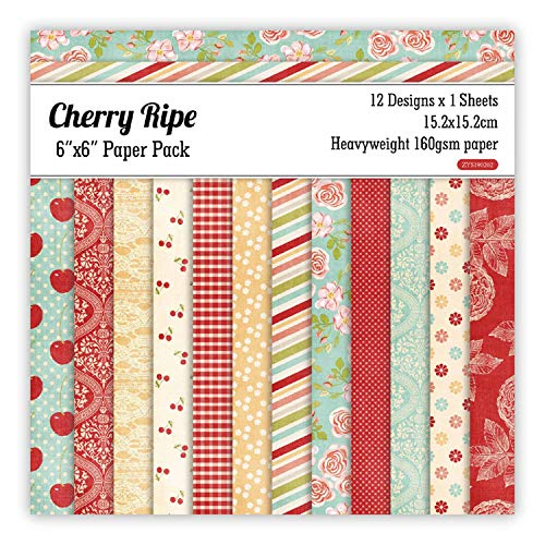 12 Sheets Cherry Ripe Scrapbooking Pads Paper Origami Art Background Paper Card Making DIY Scrapbook Paper Craft]()