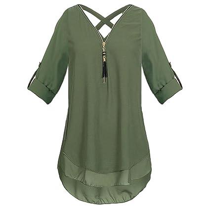 ESAILQ Frauen V-Ausschnitt Reißverschluss Reine Farbe Chiffon T-Shirts beiläufige lose Tops Tunika Bluse
