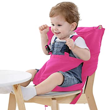 Portable Baby Feeding Seat Safety Belt Infant Travel Foldable Dinning High Chair Cover Safety Harness Color : Navy Blue