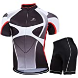 ZEROBIKE® Men's Short Sleeve Breathable Cycling Jersey Sports Clothing 3D Padded Shorts Set Full Zip