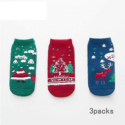 ZMLAU Calcetines De Navidad, 3 Pares De Calcetines De Algodón De Invierno para Bebés Niños