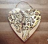 Handmade Woodburned Giraffe and Baby Art