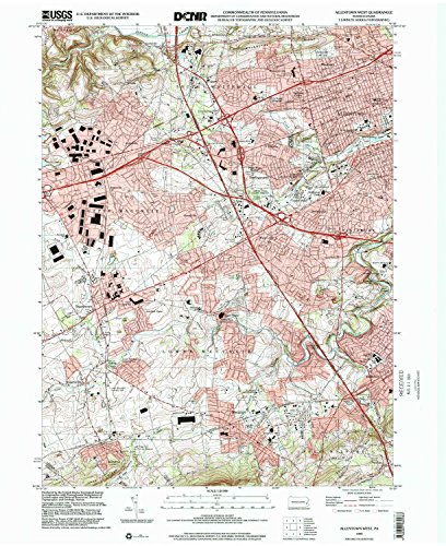 Allentown West PA topo map, 1:24000 scale, 7.5 X 7.5 Minute, Historical, 1999, updated 2001, 27 x 22.1 IN - Tyvek (Light Oak One Ancient)
