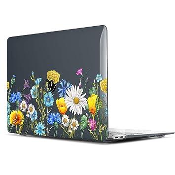 TwoL Ultra Delgado Carcasa Rígida Protector de Plástico para MacBook Pro Touch Bar 13 Pulgadas 2016-2019 Flores Silvestres Negras
